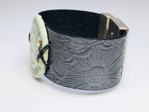 Leather and Ceramic Bracelet