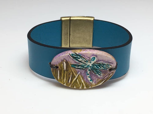 Leather and Dragonfly Polymer Bracelet