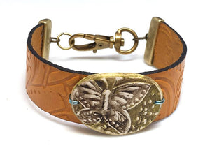 Leather and Buttetfly Polymer Clay Bracelet
