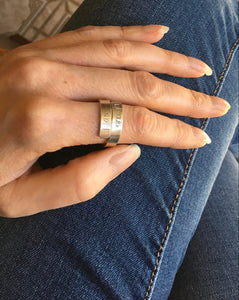 """I am enough"" Sterling Silver Bypass Ring Sz 7-9"