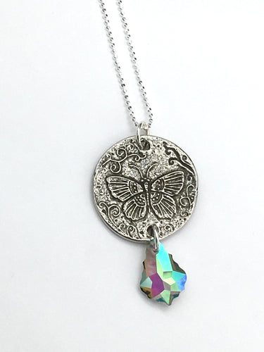 Swarovski Crystal and Butterfly Necklace