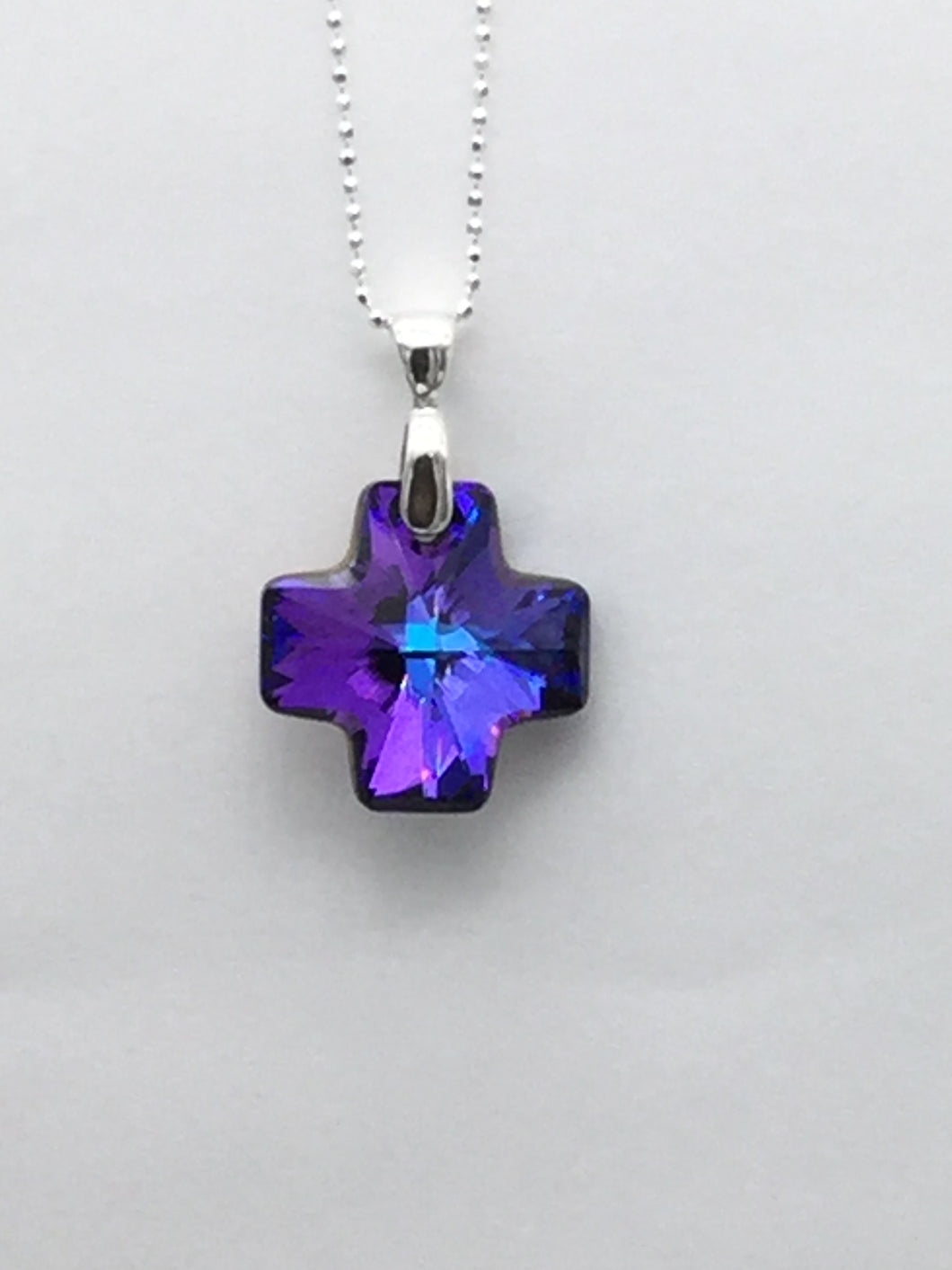 Swarovski Crystal Cross and Sterling Silver Necklace