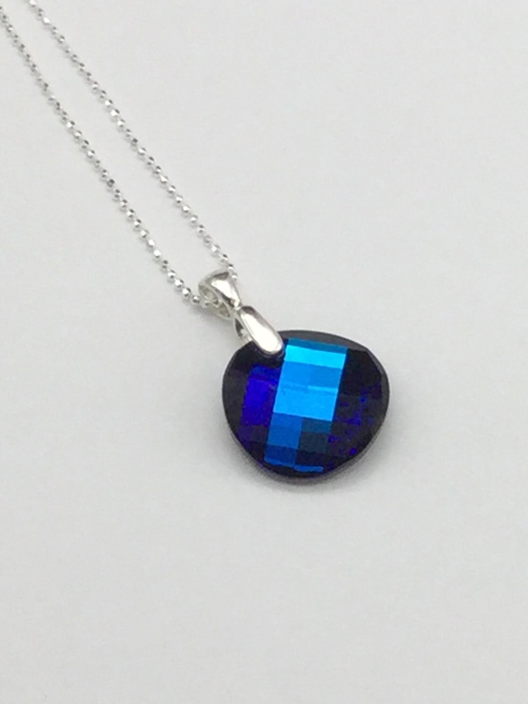 Swarovski Crystal Blue Checkerboard and Sterling Silver Necklace