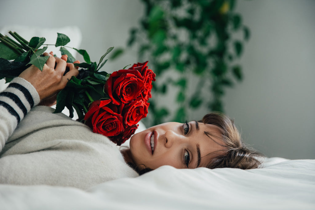 Woman with roses
