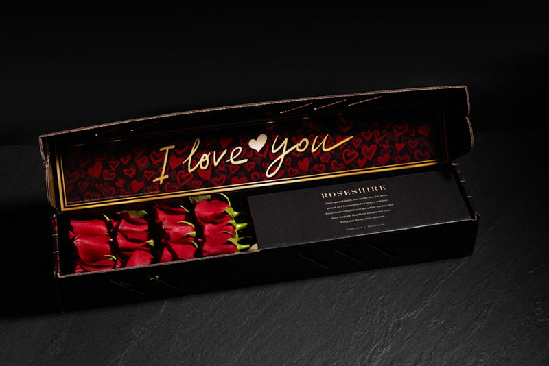 Roseshire Premium Red Roses in 1 Dozen I Love You Box