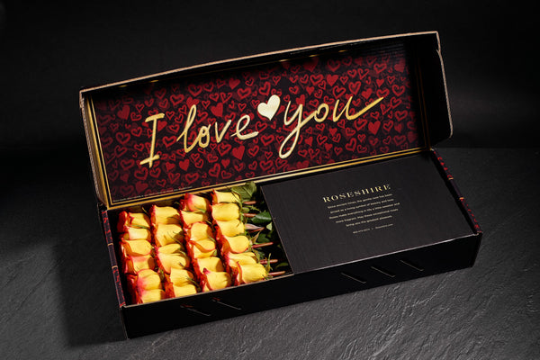 Roseshire Premium Yellow Roses in 2 Dozen I Love You Box