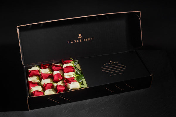 Roseshire Premium Red White Roses in 2 Dozen Legendary Box