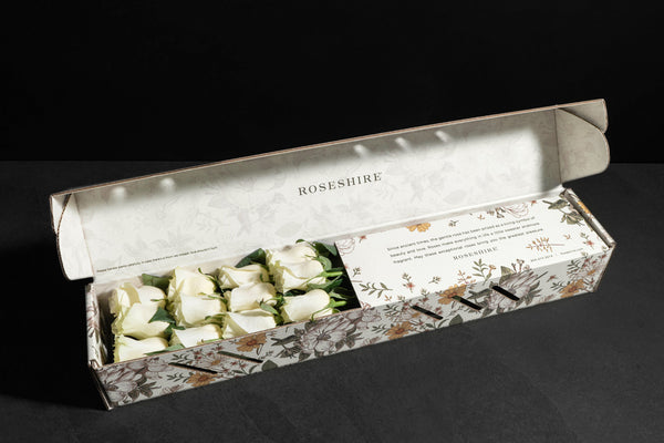 Roseshire Premium White Roses in 1 Dozen Wildflower Box