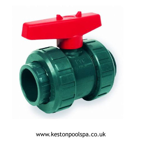 Double Union Ball Valve Plain PVC Grey