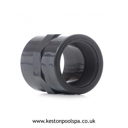 Socket Connector PVC Grey Plain Threaded