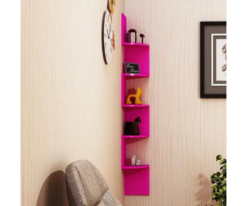 Wooden Fancy Zigzag Wall Mount Floating Corner Wall Shelf