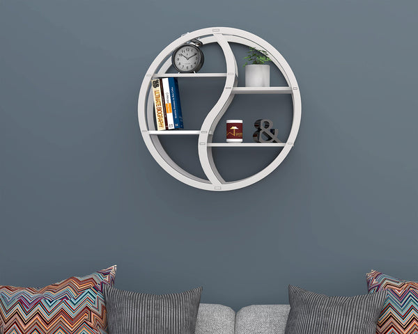 Trenton Round Floating Wall Shelf For Living Room