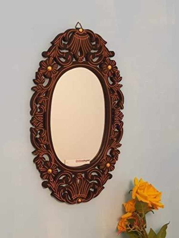 Antique Handcrafted Wooden Mirror Frame
