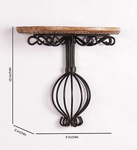 Wooden & Wrought Iron Wall Bracket Decorative Wall Shelf