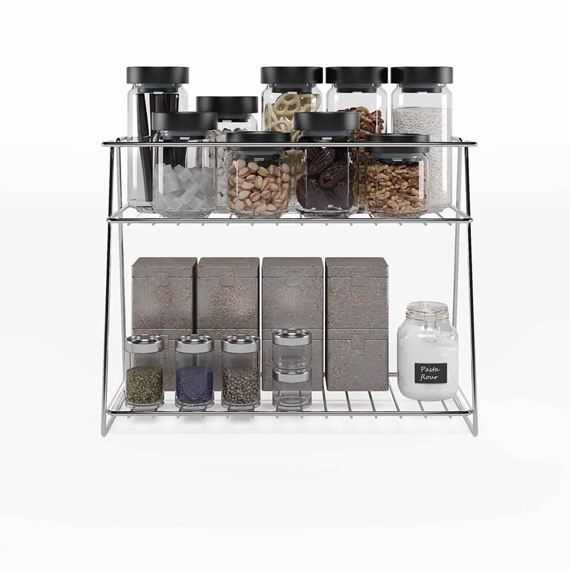 Stainless Steel Spice 2-Tier Trolley Container Organizer/Basket for Boxes, Utensils, Dishes Plates for Home