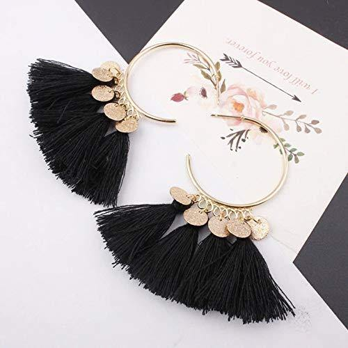 Black Ethnic Sequins Drop Earrings