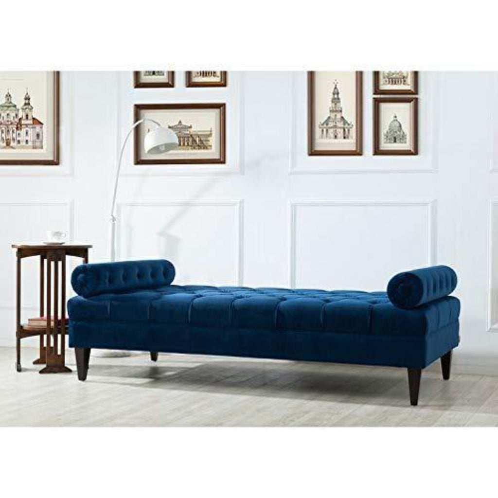 Large Bolstered Lounge Entryway Bench Three Seater Lounge  for Living Room (Blue Velvet) - WoodenTwist