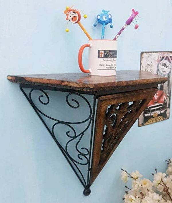 Wooden Hermosa wood & wrought iron Large wall bracket