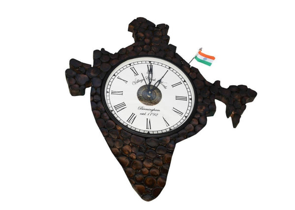 Wooden INDIA Shape Hanging Wall Clock Antique 16 INCH