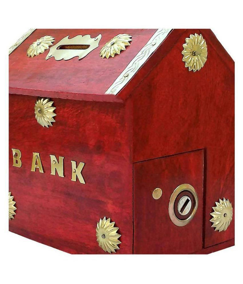 Home Style Wooden Coin/Money/Piggy Bank Saving Box - (Red)