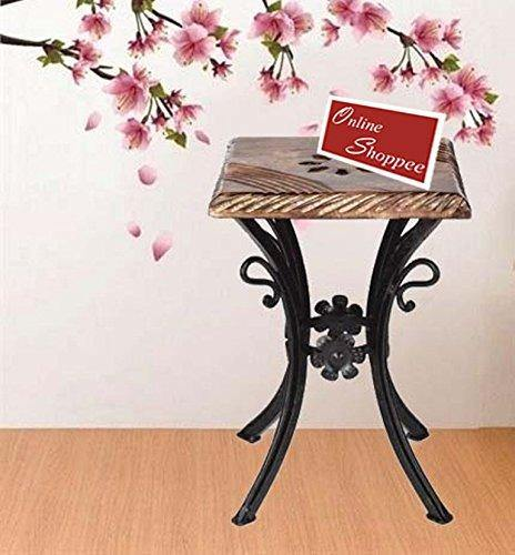 wooden and iron stool