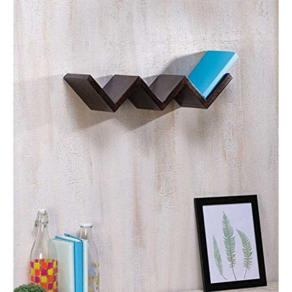 Wooden Handicrafted W Shape Designer Floating Wall Shelves
