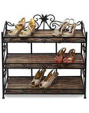 wooden and iron shoe rack