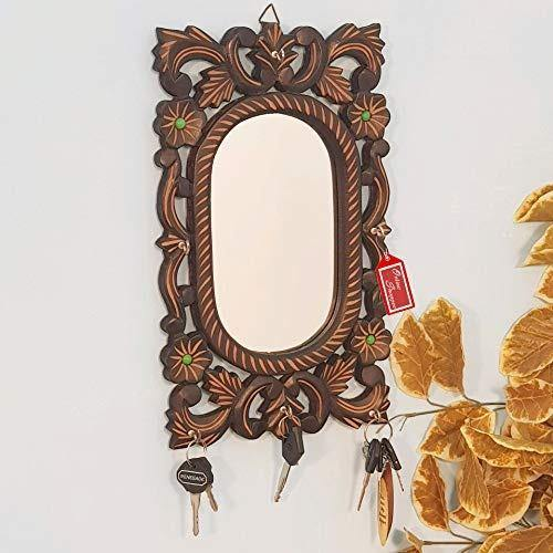 Wooden Antique Oval Shaped Mirror with Key Holder
