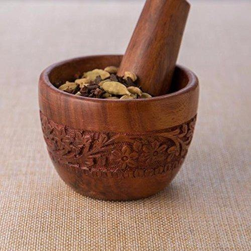 Brown Wood Kitchen Tool Set (Wood Carved Pestle and Mortar)