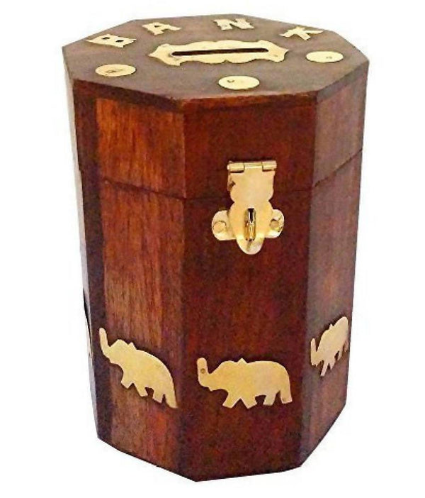 Elephant Coin/Money/Piggy Bank Saving Box - (Made with Rosewood | Wooden Brass Inlay Work)