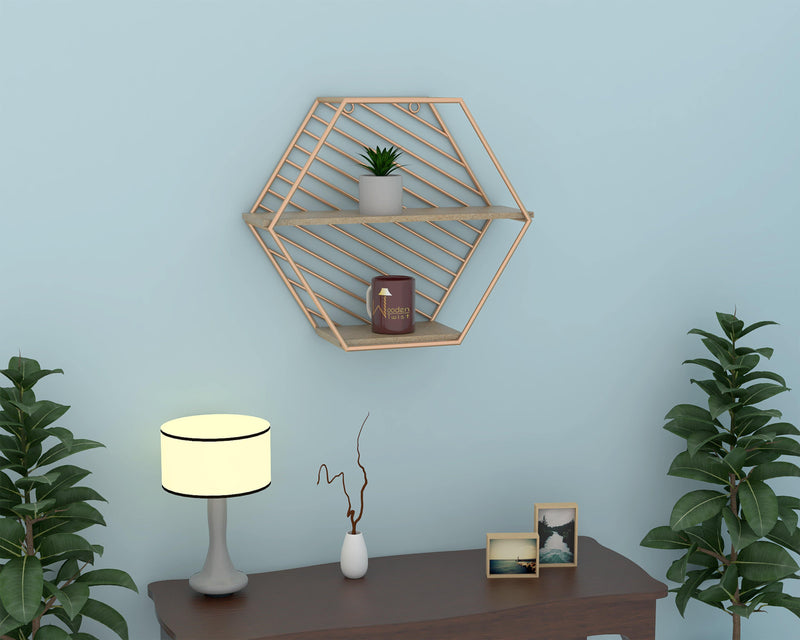 Metallic Twist Hexagon Wooden Wall Shelf (Golden )