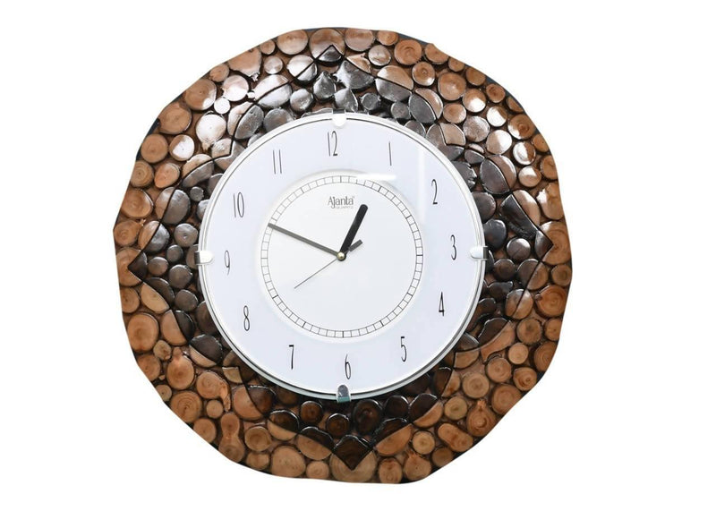 Wooden Round Shape Hanging Wall Clock Antique 16 inch with double polish
