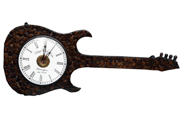Wooden Guitar Shape Hanging Wall Clock Antique (Roman Dial)