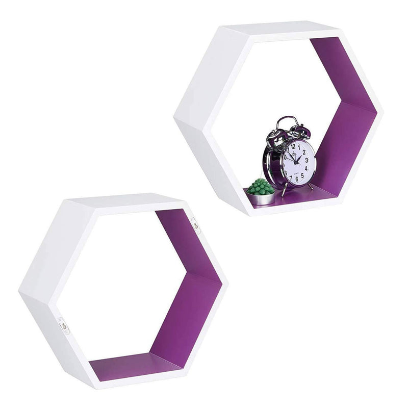 Modish Hexagon Floating Wall Shelf Set of 3