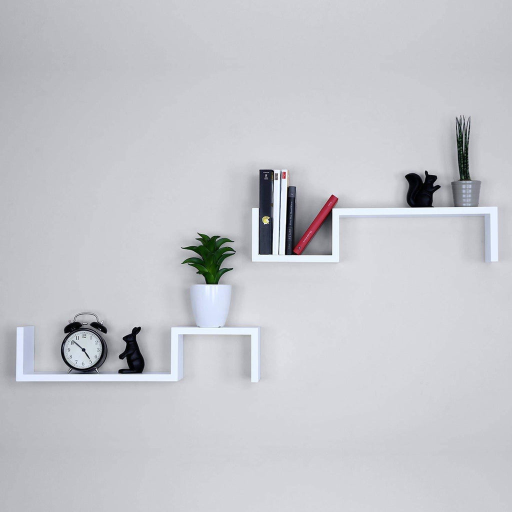 S Shape Floating Wall Shelves Set of 2 White - WoodenTwist