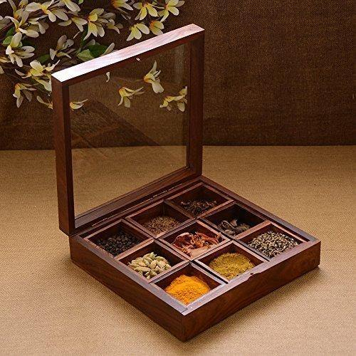 Sheesham Wood Spice Box Container - Spice Masala Box Holder