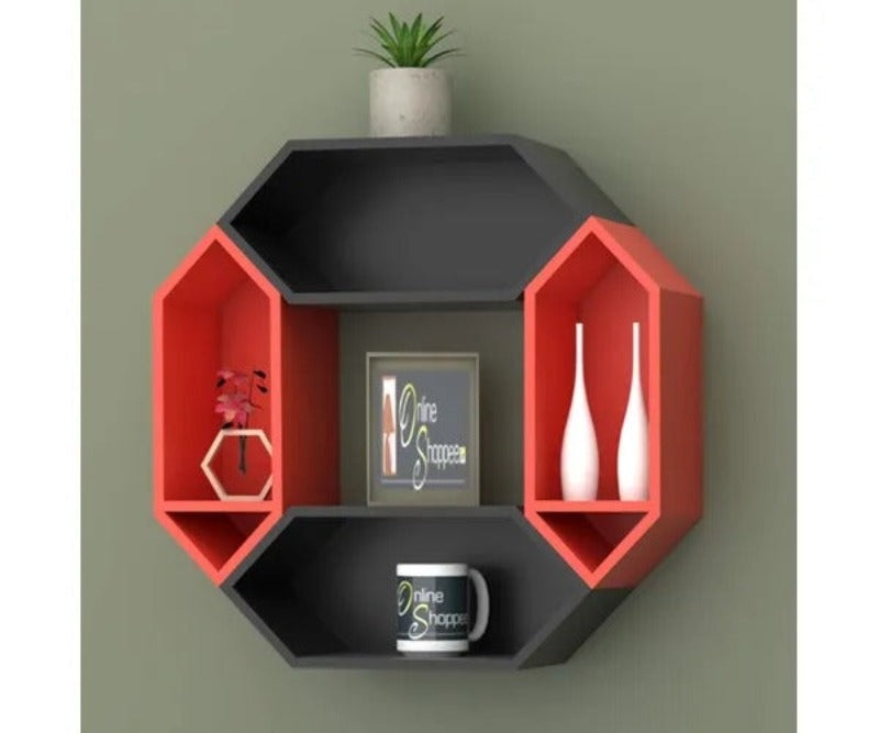 Wooden Pared Hexagon Floating Wall Shelf with 4 Shelves