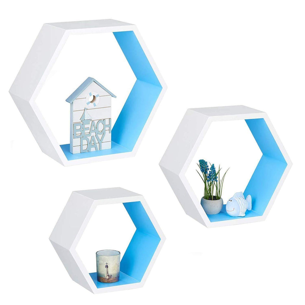 Modish Hexagon Floating Wall Shelf Set of 3 - WoodenTwist