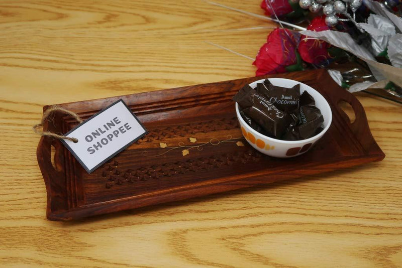 Wooden Designer Serving Tray Handcrafted