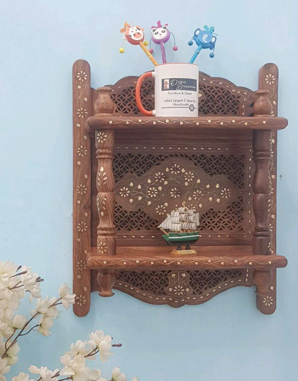 wooden bracket temple shelf