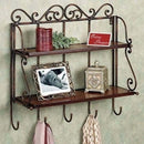 Wooden & Iron 2 Shelf Book/ Kitchen Rack With Cloth/Key Hanger