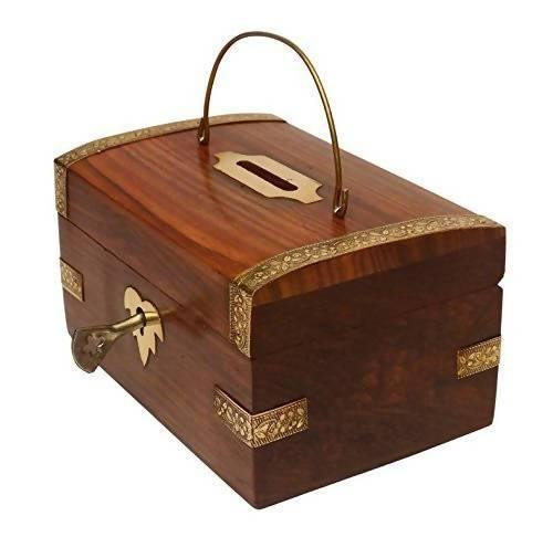 Coin/Money/Piggy Bank Saving Box - ( Made with Rosewood | Wooden Brass Inlay Work)