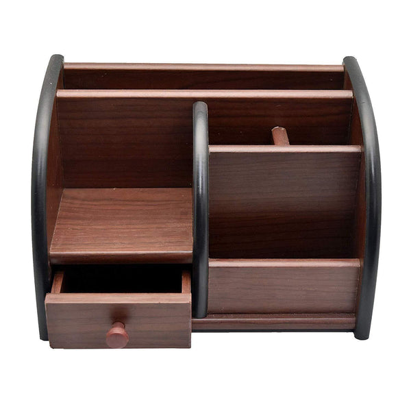 Wooden Pen Stand Big Size with Drawer, Desk Organiser