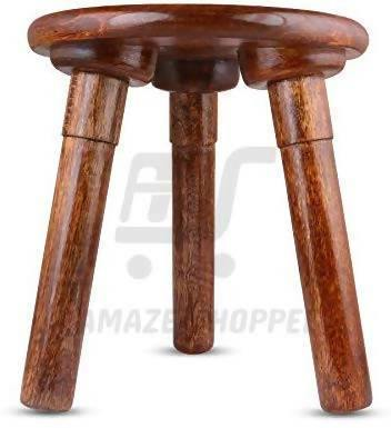 Modern End Table/Stool for Living Room Side/Corner Table -Brown Round Tabletop with 3 Foldable Legs