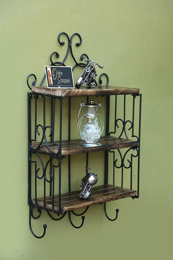 Wooden & Iron 3 Shelf Book/ Kitchen Rack With Cloth/Cup Hanger