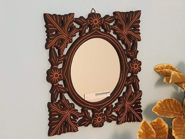 Hand Carved Wood Wall Mirror