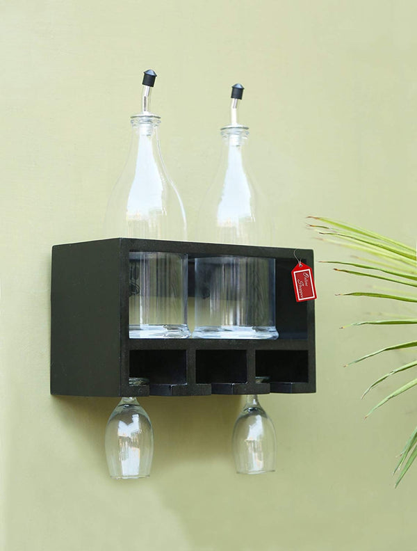 Unique Wooden Bottle Rack, 2 Bottles Holder Wall Shelves
