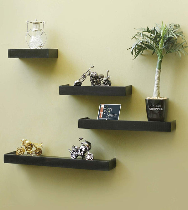 Wooden Rectangular Floating Wall Shelves set of 4