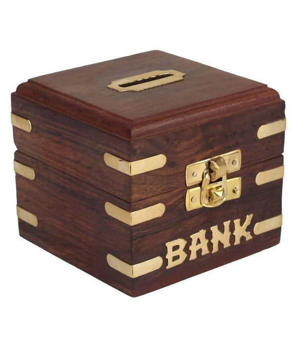Small Coin/Money/Piggy Bank Saving Box - (Made with Rosewood | Wooden Brass Inlay Work)