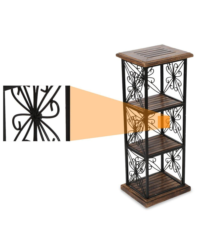 Wood And Iron Book Shelf Cum End Table With 3 Shelves